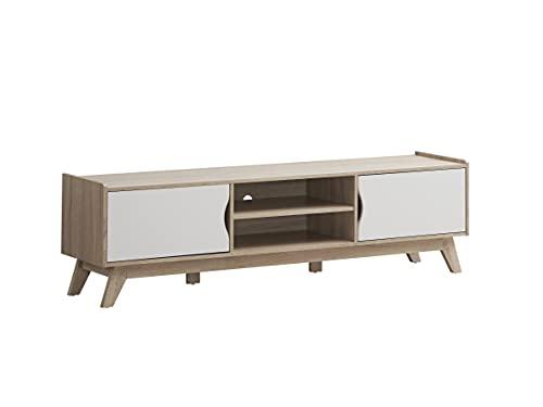 Myoshome - Mueble TV Salon Mesa para TV Color Roble Sonoma y Blanco 150 x 40 x 50 cm