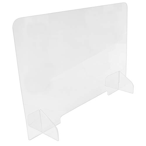Clear Reception Protective Acrylic Sneeze Guard Panel with 1.5' Tall Opening (23.5' Tall x 31.5' Wide)