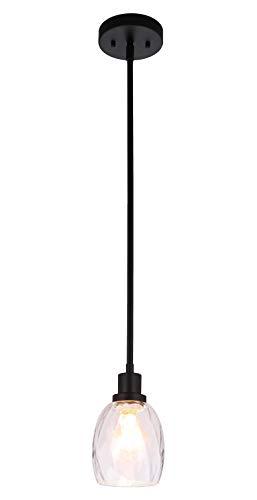 Pendant Light Modern 1 Light Mini Pendant Hanging Light with Clear Glass Adjustable Kitchen Hanging Ceiling Light in Matte Black XiNBEi-Lighting XB-P1210-MBK