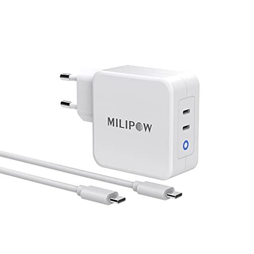 MiliPow - Cargador PD 100 W con GaN Tech, 2 puertos de 45 W de USB-C, compatible con ordenadores portátiles HP, Dell, Lenovo, MacBook, Asus con conector de tipo C, cargador de teléfono móvil USB C