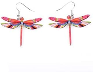 Fashion Dangle Dragonfly Earrings Acrylic Long Drop Earring New Arrival 2015 Spring Summer Style For Girls Women Jewelry Size/Color : light red
