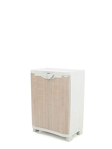 Plastiken Medio Armario SPACE SAVER 70cm con 2 estantes metálicos con puertas imitación madera de HAYA (70cm de ancho x 45cm de hondo x 100cm de alto)