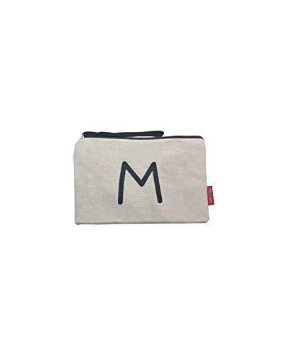 Hello-Bags B-002-M Bolso Neceser/Cartera de Mano. Algodón 100%. Blanco. con Cremallera y Forro Interior. 23 * 15,5 cm. Incluye sobre Kraft de Regalo