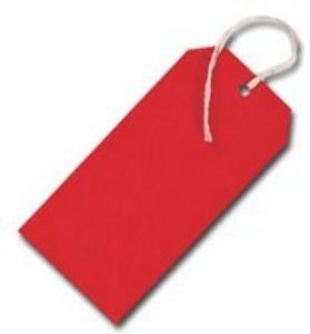 50 Pack - 120 x 60mm Red Coloured Strung Tags