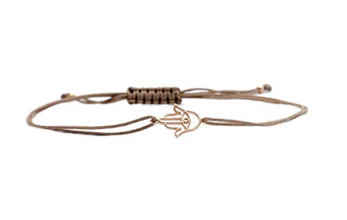 SCHOSCHON Damen Hand der Fatima - Hamsa Symbol Armband Taupe-Rosegold, 925 Silber rosevergoldet // Geschenkideen Fatimas Schmuck Textilarmband