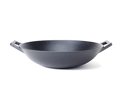 Hanseküche Gusseisen Wok – Hochwertige eingebrannte Wokpfanne mit Ø 35,5 cm, induktionsgeeignet – Robuste und rustikale Gusspfanne