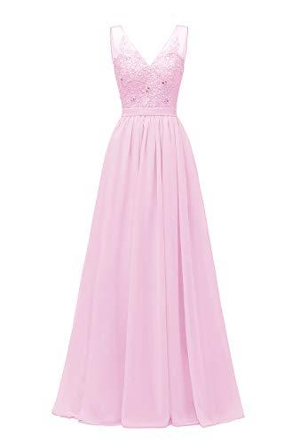 Women's A Line V Neck Lace Bodice Chiffon Prom Dresses Long Formal...