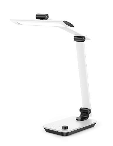 TaoTronics LED Schreibtischlampe, Dimmbare Lampe mit Forward Beam Technologie, Hohe Farbwiedergabe für Lernen Arbeit, Auto Helligkeitsanpassung, Berührbare Farbtemperatureinstellung,12W USB Port