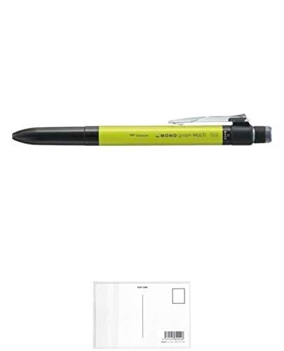 トンボ鉛筆 多機能ペン モノグラフマルチ 2&1 消しゴム付 ライム SB-TMGE51 【まとめ買い5本セット】 + 画材屋ドットコム ポストカードA