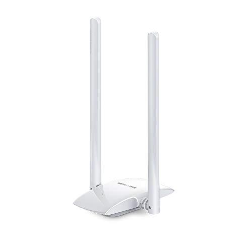 MERCUSYS N300 Adattatore USB Wireless ad alto guadagno con due antenna ad alto guadagno 5dBi e 2 × 2 MIMO per PC/Desktop/Laptop, supporta Windows 10/8.1/8/7/XP (MW300UH)