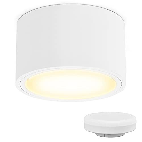 KYOTECH Spot en Saillie led IP44 Ø95x55mm Plafonnier Luminaire Apparent, incluse 6W Remplaçable GX53 Ampoule 3000K Blanc Chaud 550LM Plafonnier Spot LED Downlight pour Salle de Chambre Salon Cuisine