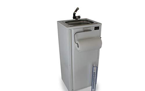 Mobiles Handwaschbecken Waschbecken Verkaufsstand +Papierrollenhalter + Heizstab Weiß (ad-ideen)