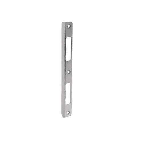 Gedotec Winkel-Schließblech mit schmalem Blindlappen für Zimmertüren | Renovierung für Zargen aus Holz & für gefälzte Türen | Schließblech Edelstahl-Optik | 1 Stück - Türanschlag für Türschlösser