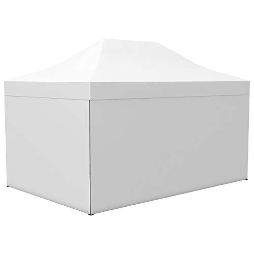 Vispronet Profi Faltpavillon/Faltzelt Basic 3x4,5 m, Weiß, Stahl-Scherengitter, 4 volle Zeltwände, Befestigungs-Set (weitere Farben & Größen)