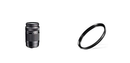 Olympus EZ-M7530 M.Zuiko Digital 75-300mm 1:4.8-6.7 Objektiv II, geeignet für alle MFT-Kameras (Olympus OM-D & Pen Modelle, Panasonic G-Serie), schwarz & Walimex Pro UV-Filter Slim MC 58 mm