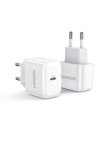 UGREEN 20W Cargador USB C 2 Packs, Mini Cargador PD3.0 Carga Rápida Soporta PPS, Cargador de Red USB C Compatible con iPhone 12, 12 Pro, 12 Pro Max, 11, SE 2020, iPad Pro 2020, Galaxy S21, S20 A51
