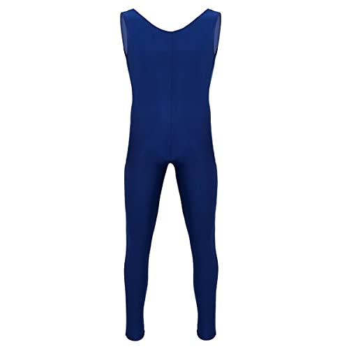 CHICTRY Maillot Leotardo Deportivo Monos de Gimnasia Body Ropa Interior para Hombre Azul Marino XL