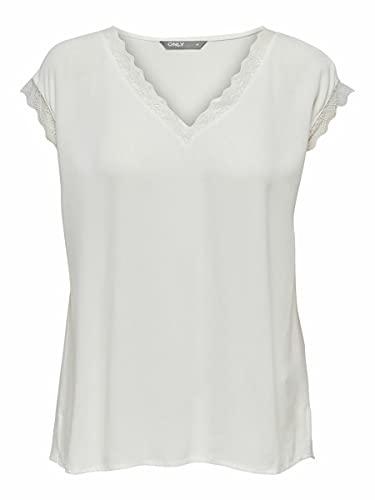 Only ONLJASMINA S/S Lace Top FR WVN Camiseta sin Mangas, Cloud Dancer,...