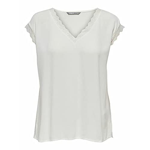 Only Onljasmina S/S Lace Top FR Wvn Camiseta sin Mangas para Mujer a buen precio