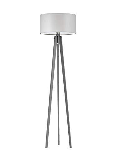 Miami - Lámpara de pie de madera, pantalla de color gris claro, marco de madera de ceniza
