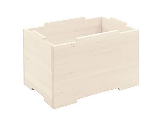 BioKinder opbergkist houten kist opbergkist stapelkist groot massief hout grenen 40 x 60 x 37,5 cm wit geglazuurd