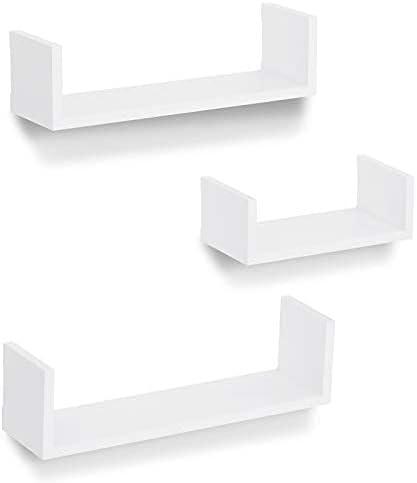 Americanflat Max 86% OFF White Floating Shelves Set of Composit Branded goods U Shaped - 3