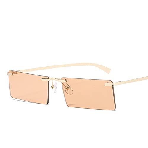 Gafas de Sol Sunglasses Gafas De Sol Cuadradas Pequeñas Sin Montura para Mujer Estilo Veraniego Gafas De Sol Rectangulares Sombras Gafas Femeninas Retro Negro Tendencia A