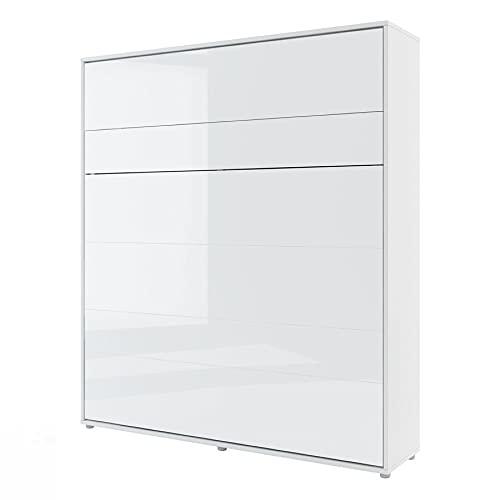 Lenart - Cama con armario (180 x 200 cm, con iluminación, 2 lámparas de lectura USB y colchón Presto), color blanco brillante