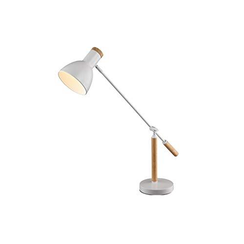 JJZXD Interruptor de la Tabla de la lámpara LED de luz Modern Minimalismo Tabla Negro Blanco Color de la Madera roja de la Sala Dormitorio de la lámpara de Lectura de Oficina (Color : White)
