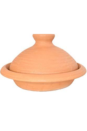 Tajine, original aus Marokko, Tontopf zum Kochen, Targi Ø = 27cm geeignet für 1-3 Personen, handgetöpfert aus Marrakesch, unglasiert, frei von Schadstoffe