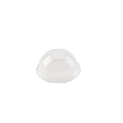 BIOZOYG PLA Bio-Plastik Becher Deckel für to GO Trinkbecher I Domdeckel Ø 97mm gewölbte Becherdeckel I 50 Stück Getränkedeckel transparent 100% biologisch abbaubar, kompostierbar, recycelbar