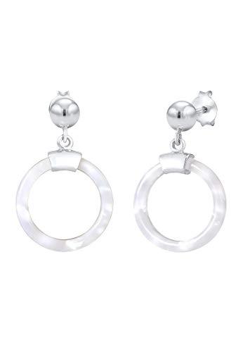 Elli Ohrringe Damen Ohrhänger Acetat Perlmutt Optik Geo in 925 Sterling Silber
