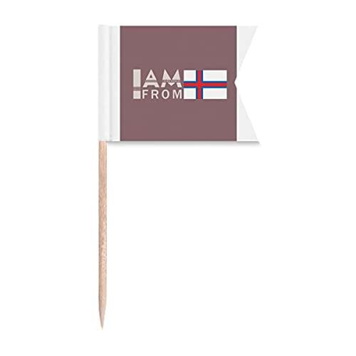 I Am from Faröe Islands Art Deco Geschenk Mode Zahnstocher Flaggen Kennzeichnung für Party Kuchen Lebensmittel Käseplatte
