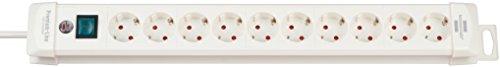 Brennenstuhl Premium-Line, Steckdosenleiste 10-fach (Steckerleiste mit Schalter und 3m Kabel - 45° Winkel der Schutzkontakt-Steckdosen, Made in Germany) weiß