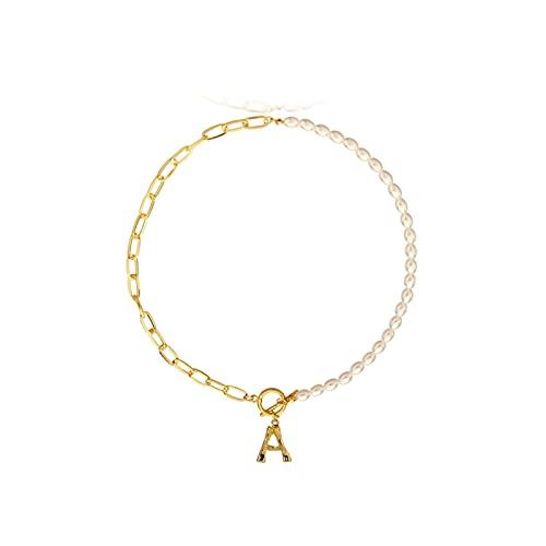 RXDZ Elegante Letra Pearl Gargantilla Collares para Mujeres Oro 26 Inicial Colgante Collar Cadena Joyería Regalos Party (Color : G, Size : TAUAM996)