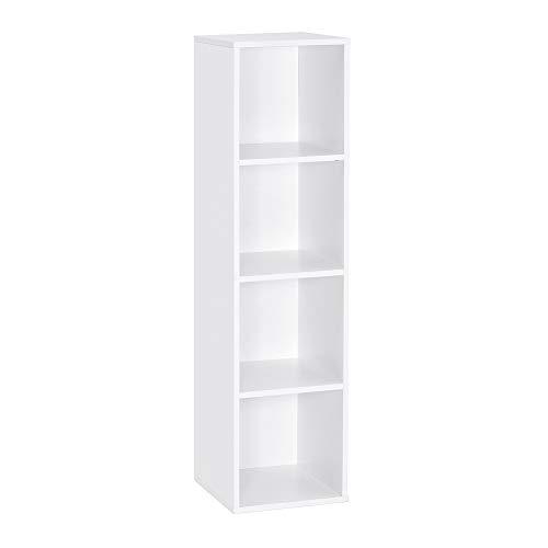 Meerveil Bücherregal, Regal mit 4 Fächer aus Holz, Weiß Modern für Wohnzimmer Schlafzimmer Kinder, 30x30x120cm