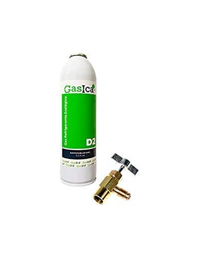 Todoelectrico - Pack Gas refrigerante orgánico GASICA D2 sustituto R12/R134a 311.8GR para Aire Acondicionado Llave para Recarga de Aire Acondicionado