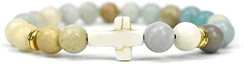 Pulsera de buena suerte Pulsera de piedra Mujer, 7 Chakra Piedra Natural Bangle Bangle Blanco Ágata Pulsera Elástica Yoga Cross Lucky Moda Joyería para Damas Un gran regalo como una pulsera de amistad