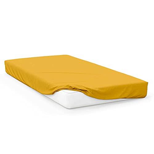 Sábana Bajera amarillas Jersey de algodón 90x190 cm