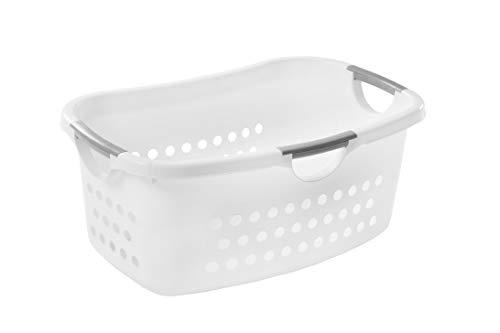 Iris Ohyama, gran cesta / cesto de la ropa, Hip Hold Hamper - EUHL, plastico, blanco, 40 L, 59 x 39 x 25 cm