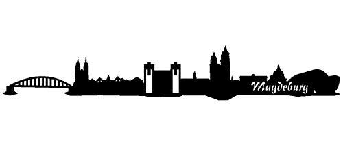 Samunshi® Autoaufkleber Magdeburg Skyline Aufkleber in 9 Größen und 25 Farben (15x2,4cm schwarz)