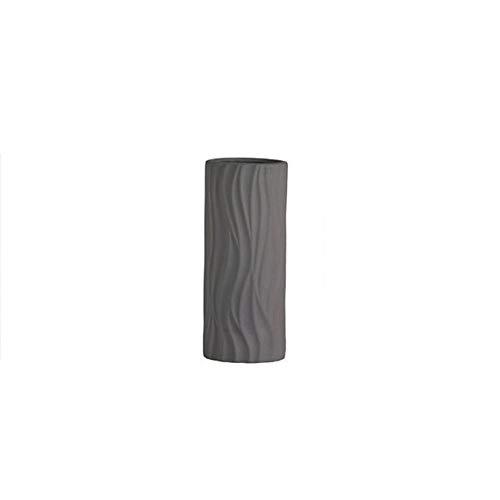 Bcaer Maceta de cerámica cilíndrica simple de estilo moderno para decoración del hogar, decoración de escritorio, para interiores y exteriores, florero de cerámica (color: gris)