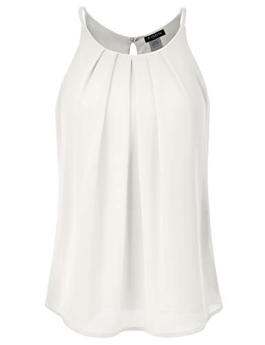 EIMIN Women's Crewneck Pleated Front Double Layered Chiffon Cami Tank Top Ivory 2XL