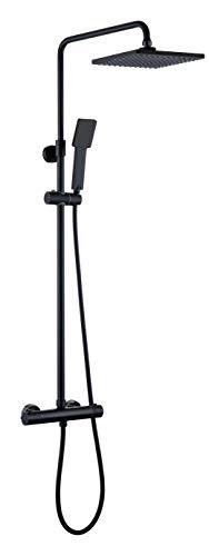 Kibath Conjunto de ducha termostático negro mate cuadrado. Tubo regulable en Altura de 85 a 115 cm. Incluye grifo termostático, maneral, flexo y barra negra telescópica, 830x1200