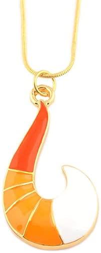 Collar de mariquita con forma de anzuelo de zorro de oro en forma de gancho de suéter de anime Collares colgantes de cosplay accesorios de