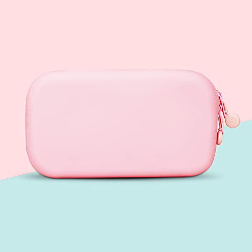 YMHM Estuche de Lápices de Silicona Bolsa de Cosméticos Simple Bolsa de Almacenamiento de Papelería Estuche de Lápices Dly Creativo Papelería,Pink-200 * 120mm