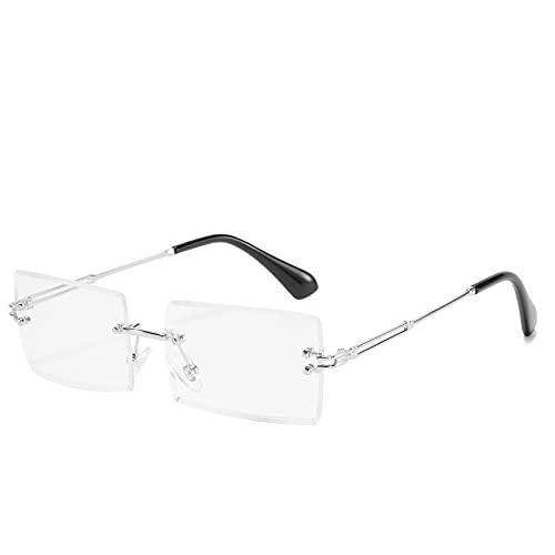 HAOMAO Gafas cuadradas sin montura para juegos de computadora, gafas que bloquean la luz azul para hombres y mujeres, gafas plateadas