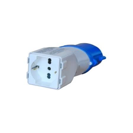 GrecoShop Spina elettrica Adattatore Industriale CEE 2P+T/Presa bipasso/schuko 10/16A 220V Blu - 16125