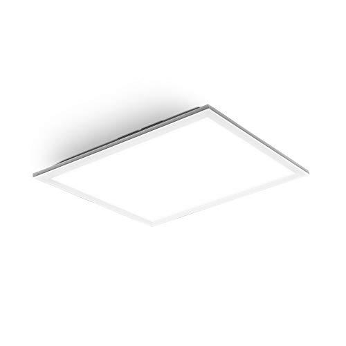 B.K.Licht Plafoniera LED per ufficio, Pannello da soffitto da 22W, 2200Lm, luce bianca neutra, Ultrapiatto 6cm, Lampada da soffitto o parete moderna, quadrata lato 45cm, Bianca