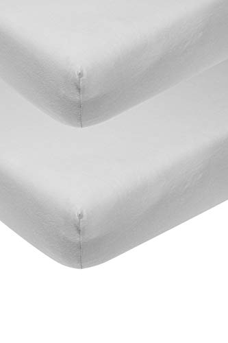 Meyco 563205 Jersey Spannbettlaken 2-Pack Baby Wiege Baby Bett 100% Baumwolle 40x80/90cm Hellgrau